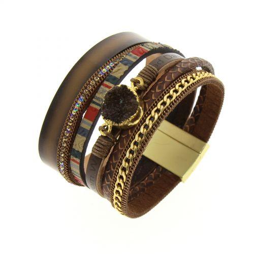Bracelet manchette pierre à cristaux MOLLY