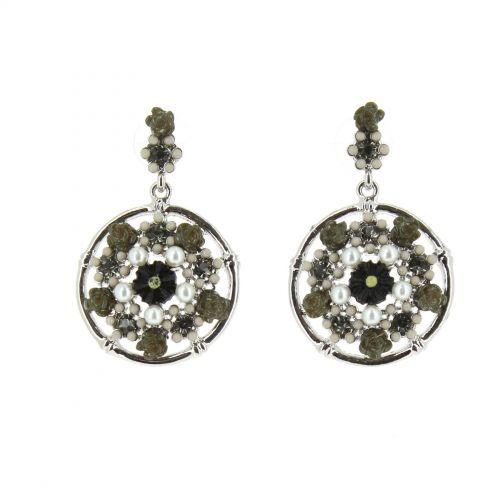 Boucles d'oreilles fleurs, perles Rachèle