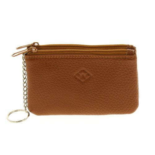 Leather double zip wallet