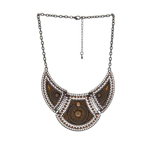 Collier plastron à perles MADDLY Marron - 10355-38624