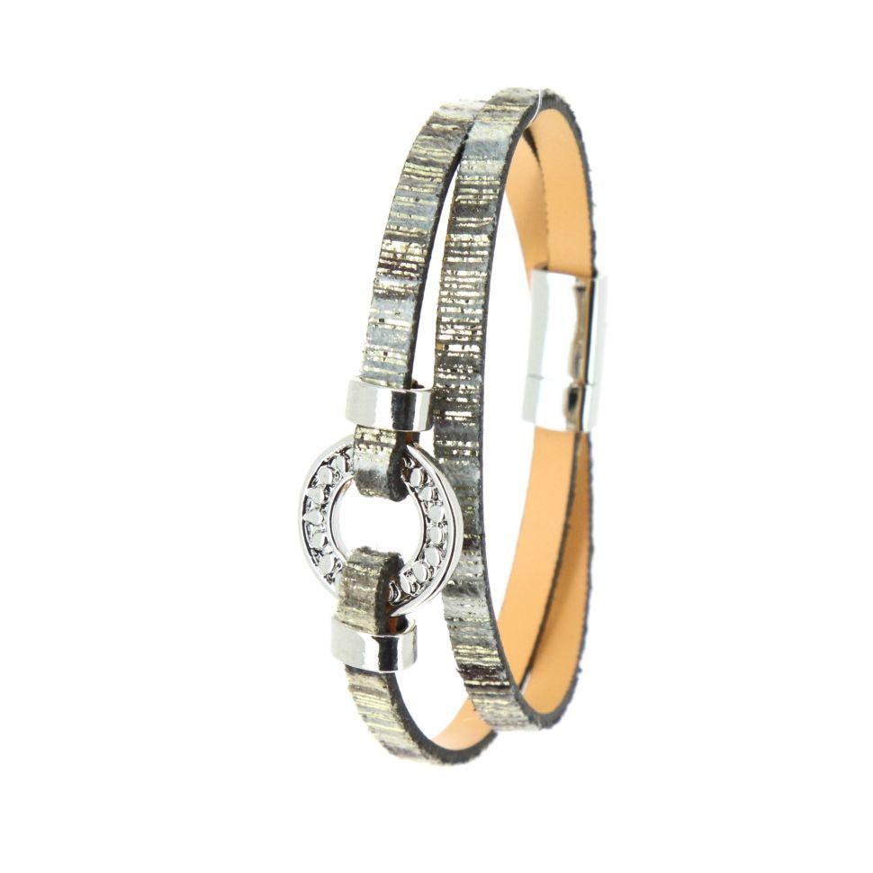 Bracelet à enrouler similicuir Berta Gris - 10400-38878