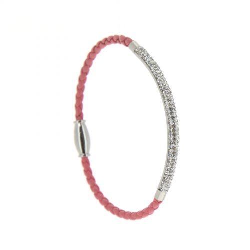 Bracelet similicuir et acier inoxydable à Strass NANNA