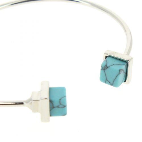 Bracelet jonc à pierre Anne-Clara Argenté (Bleu) - 10532-39924