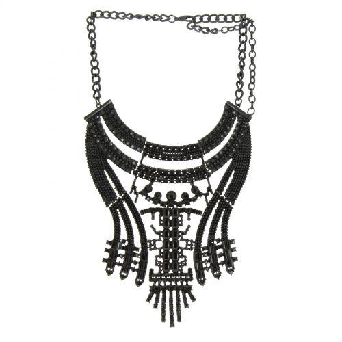 Alfred plastron fashion necklace Black - 10590-40371