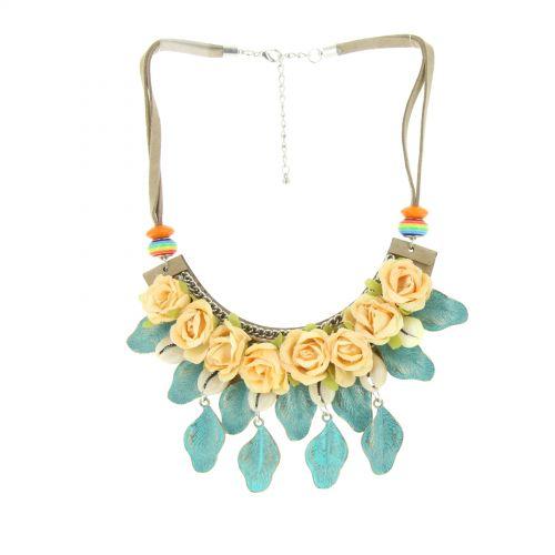 Collier fleurs Hanna Jaune - 10622-40592