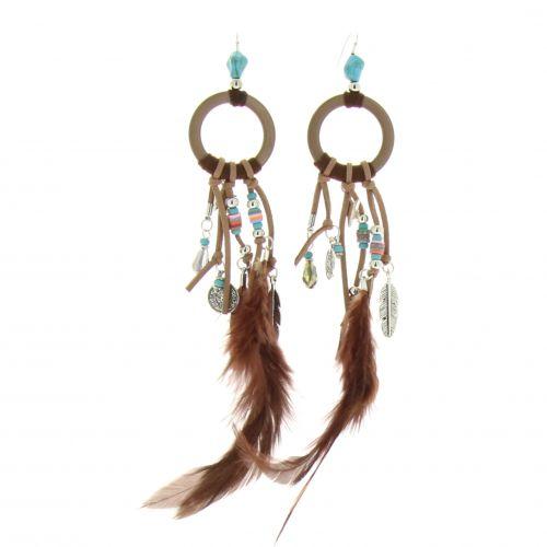 Boucles d'oreilles oversize à plumes Gwenola