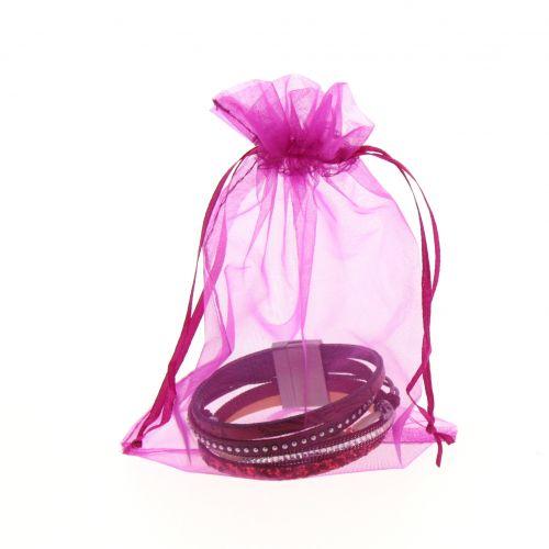 100 x Sachets d'emballage cadeaux tissus argenté 145/200