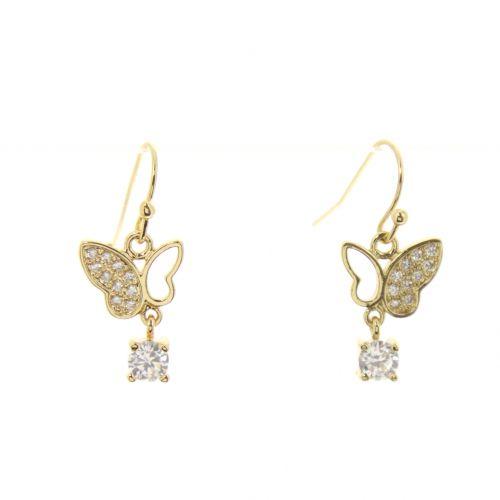 Boucles d'oreilles Papillon, zirconium Céleste