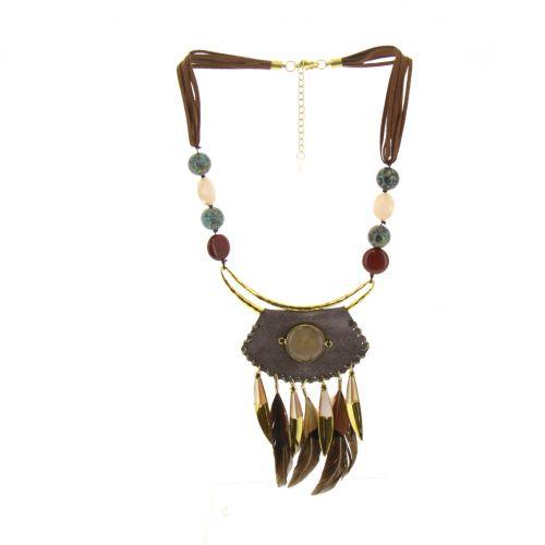 Collier pendants ethnique à perles, plumes Emie
