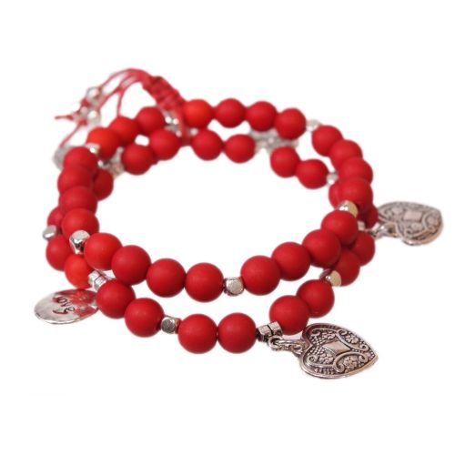 bracelet coeur et perles en bois Rouge - 1832-4608