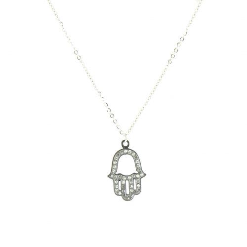 """Ahsleen """"fatma hand"""" stainless steel necklace"""