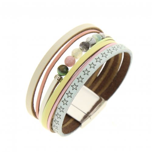 Bracelet manchette, en cuir May