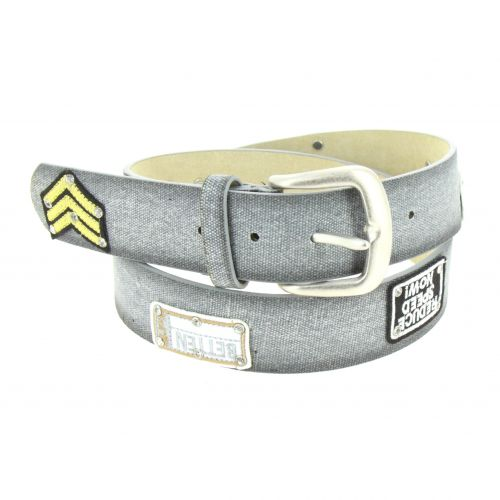 Denim patch leather belt, LEA
