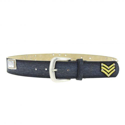 Denim patch leather belt, LEA