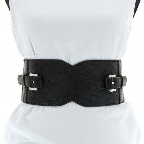 Double Buckle Wide Waist Elasticated Woman Belt, SACHA