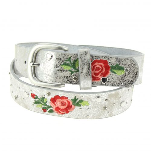 Embroidered Flowers Leather Women Belt, JESSY