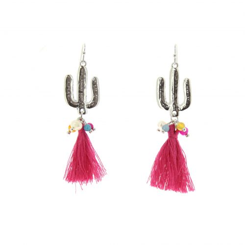 Boucles d'oreilles cactus et pompons ASSILA