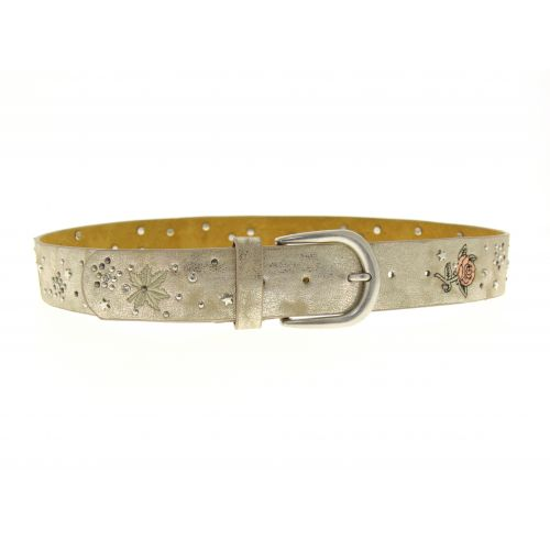 Embroidered Flowers Leather Women Belt, LANA
