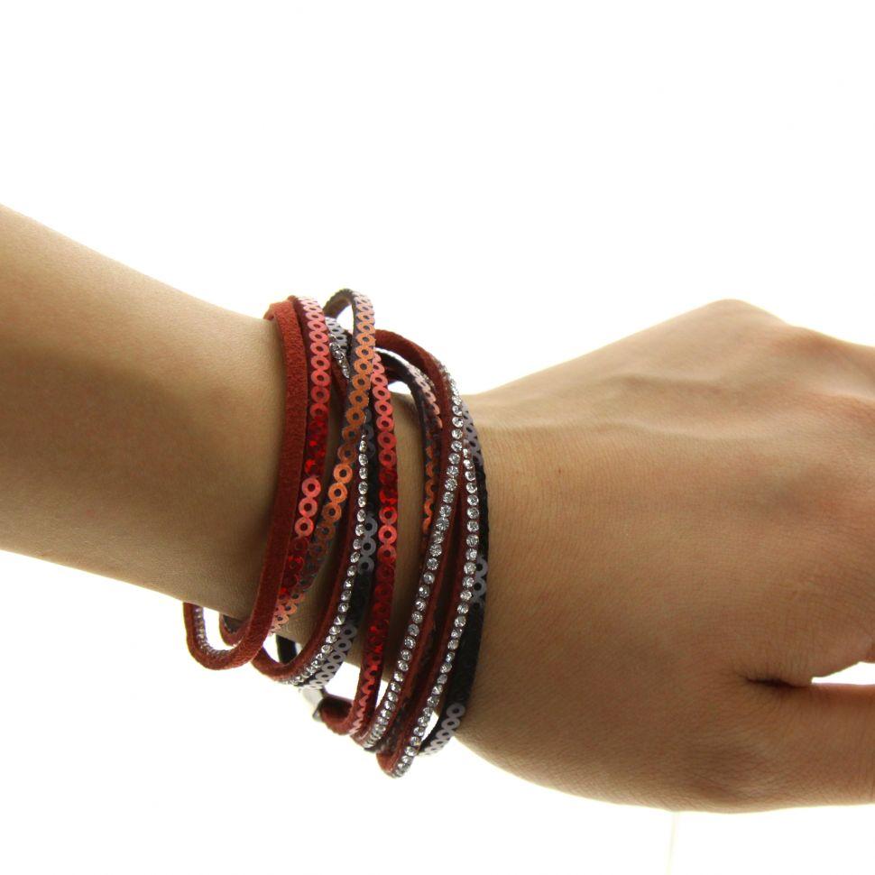 Bracelet multi-rangs, sequins et strass NATHALIE