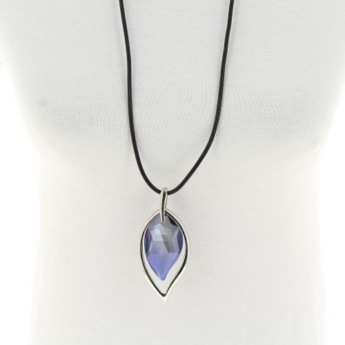 Sautoir cuir 80cm, pendentif Cristal, SIMY