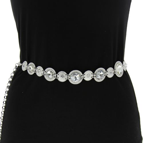 Woman's Lady Fashion Metal Chain Style Belt with Strass, SOHA