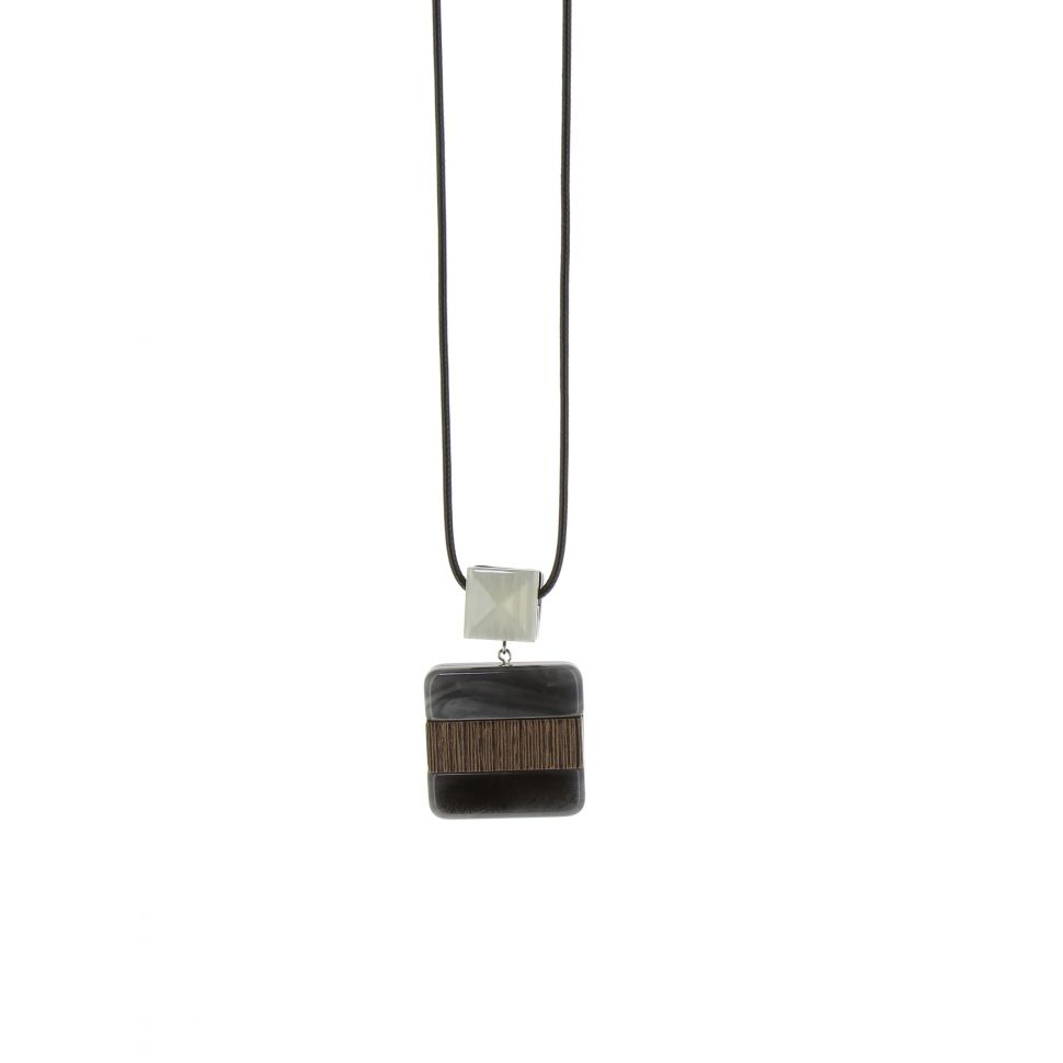 Sautoir cuir 80cm, pendentif