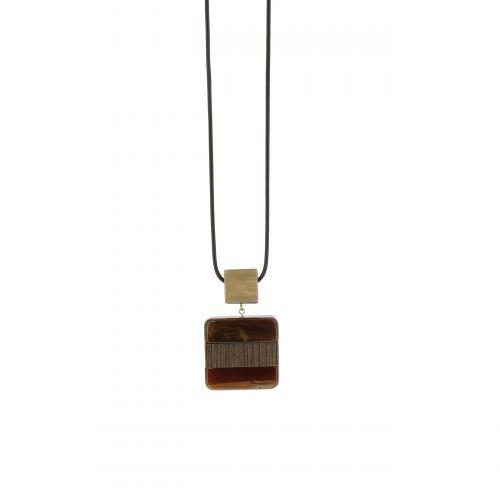 Sautoir cuir 95cm, pendentif Marine