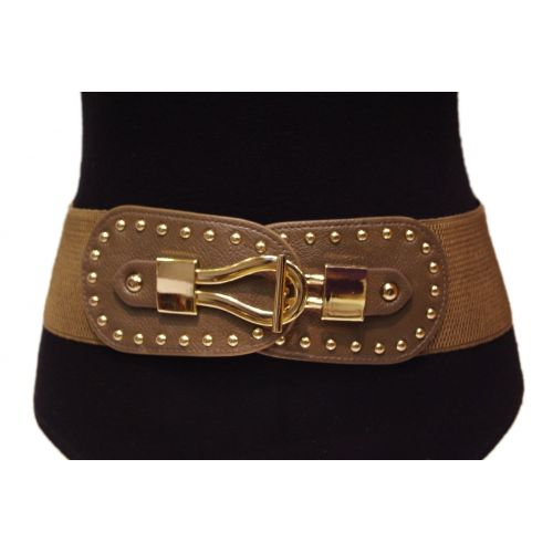 Wide studded elastic belt, FELICIANE