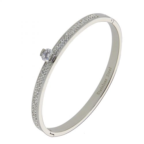 Bracelet acier inoxydable Strass zirconium KALYCIE, premium