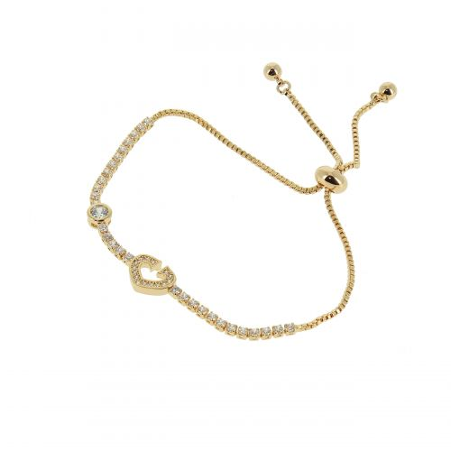 Bracelet rhinestone ajustable heart LIANNA