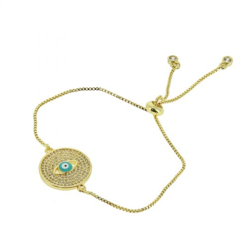 Bracelet rhinestone adjustable eye medallion OHYNA