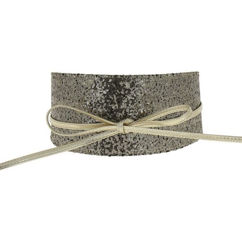 Women's Sequin Faux Leather Self Tie Wrap Obi Waist Belt, ELEN