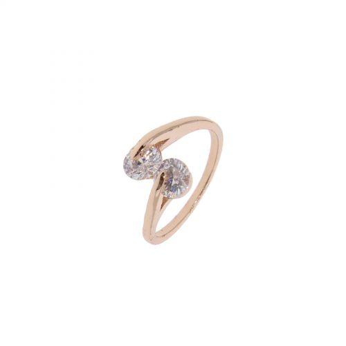 Copper Ring Rhinestone zirconium crystal golden with gold, EYLINE