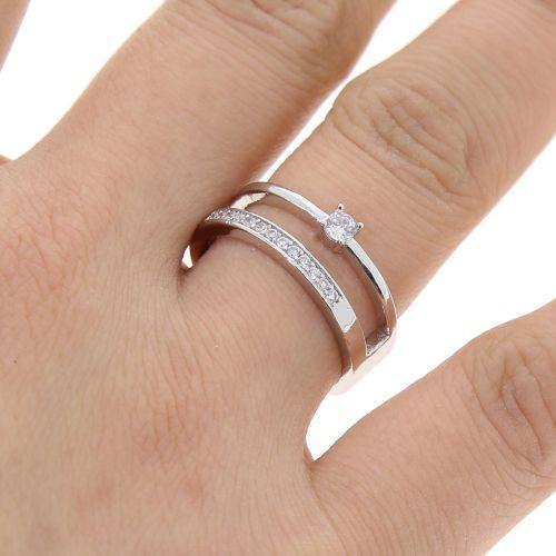 Copper Ring Rhinestone zirconium crystal golden with gold, MILLA