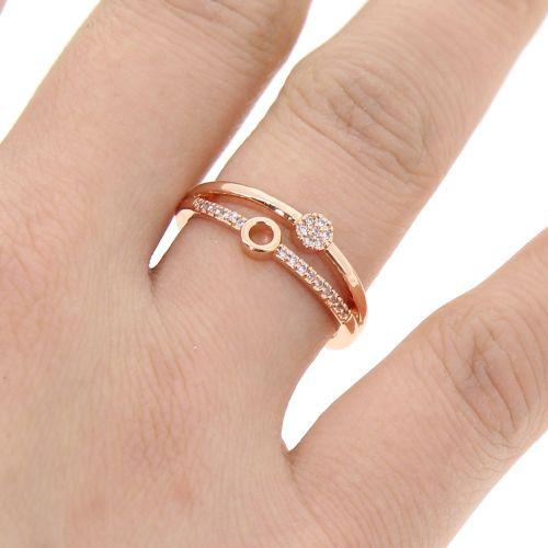Copper Ring Rhinestone zirconium crystal golden with gold, SARIA