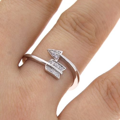 Copper Ring Arrow zirconium crystal golden with gold, LYLIA