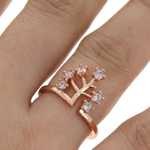 Life tree zirconium crystal copper woman ring, ESILA
