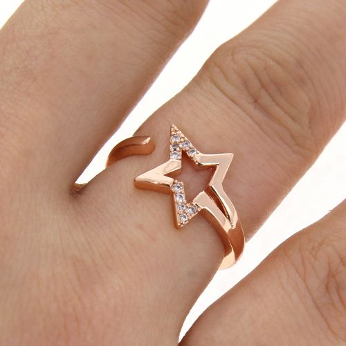 Star zirconium crystal copper woman ring, LEANNE