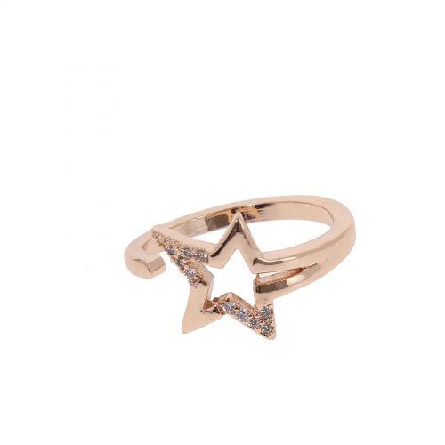 Bague étoile, en cuivre doré à l'or à cristal de zirconium, LEANNE