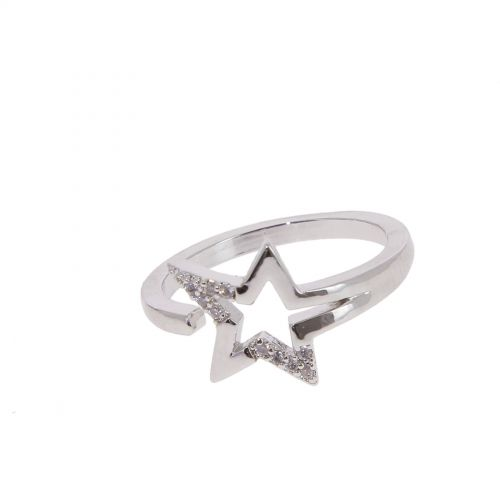 Copper Ring Star zirconium crystal golden with gold, LEANNE
