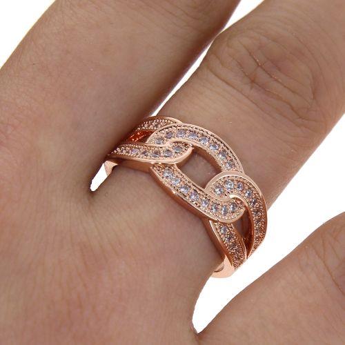 Copper Ring zirconium crystal golden with gold, ODELIA