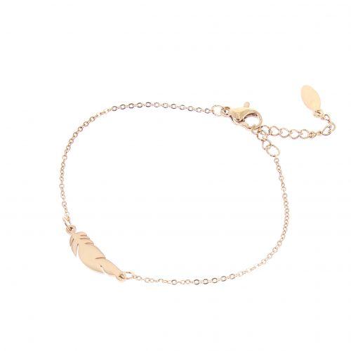 Bracelet femme plumes en acier inoxydable MARGO