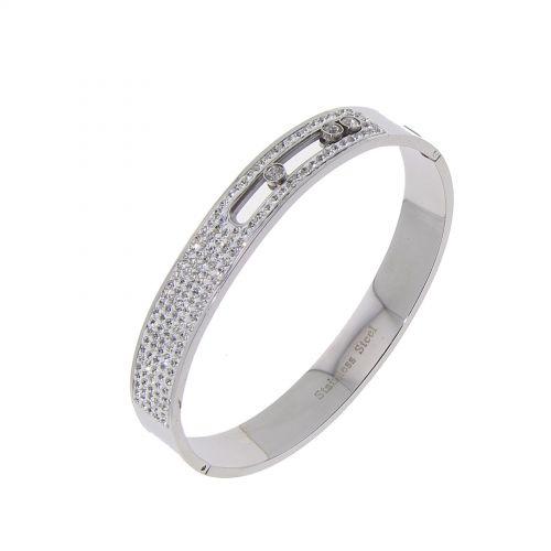 Bracelet acier inoxydable à strass de ziconium ELICA