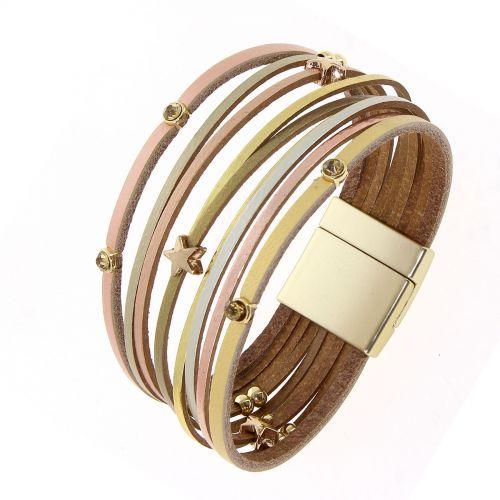 Bracelet manchette multirangs cuir et étoiles, NABI