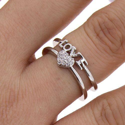 Bague Love, en cuivre doré à l'or à cristal de zirconium, LILOUBELLE