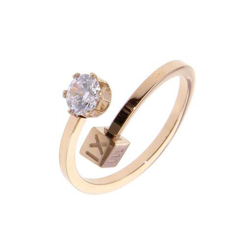 Ring stainless steel, Rhinestone CARLY