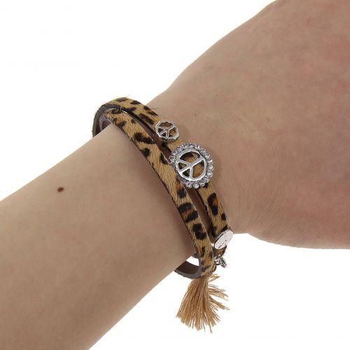 Bracelet leatherette peace and love leather LANA
