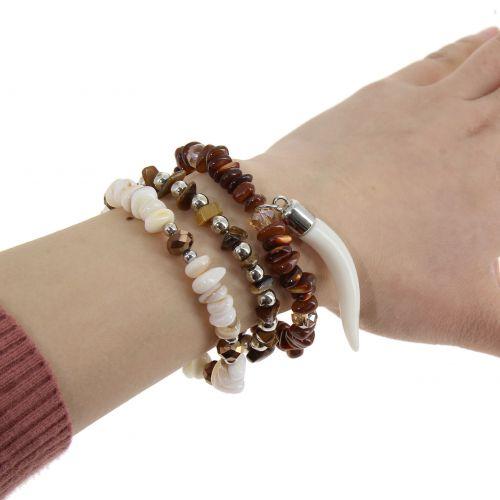 Bracelet femme extensible à perles de pierre et Corne, VICKIE