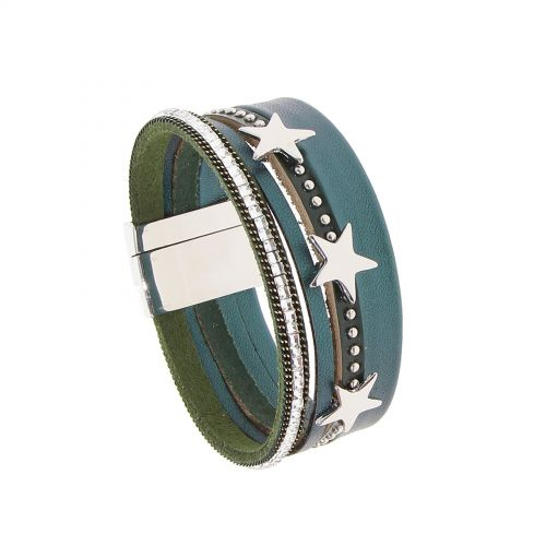 Bracelet manchette multirangs cuir et étoiles, ROMY