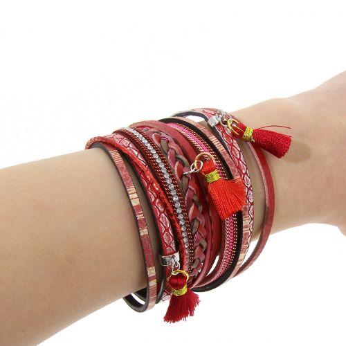 Bracelet femme manchette multirangs tressé, pompons et similicuir, LIVIA